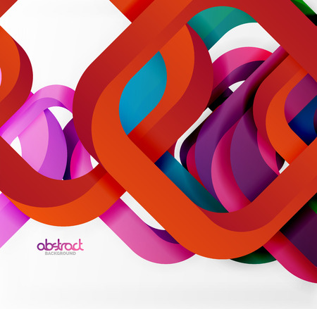Square vector background, 3d style overlapping geometric shapes with shadows on light backdrop