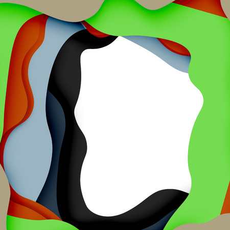 3d vector abstract background with cut shapes Illustration