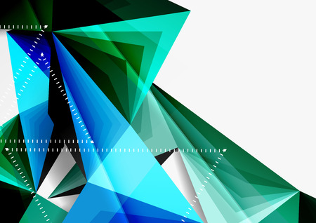 Vector low poly style 3d triangle line, a4 business or technology abstract template