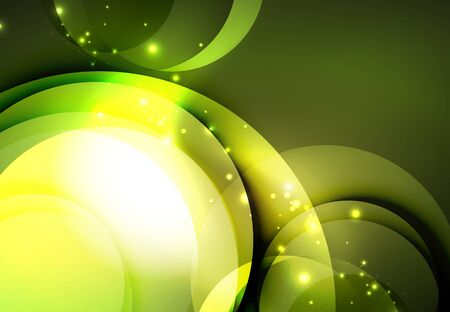 electronic music: Vector digital illustration, glowing waves and circles Illustration