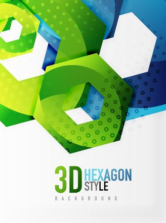 Vector 3d effect hexagon background