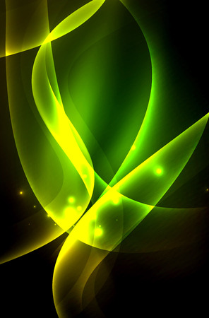 A Smoky glowing waves in the dark, vector abstract background.