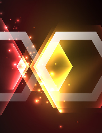 long night: Techno glowing glass hexagons. Illustration