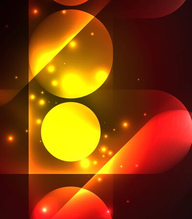 Vector glowing geometric shapes - round elements and circles on dark background Illustration