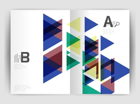 magazine design: Vector triangle business annual report cover print template