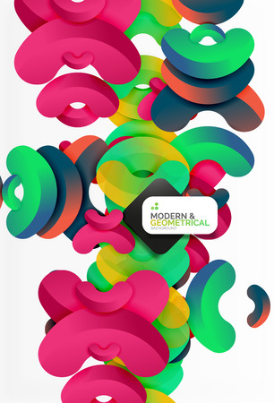 Abstract color geometric round shapes on white