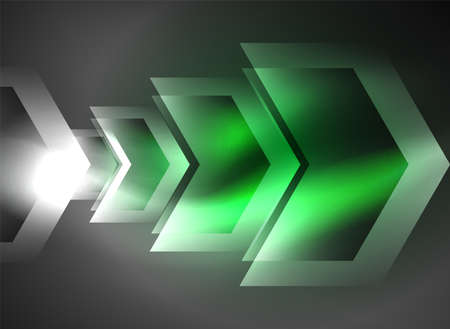 high speed internet: Digital technology glowing arrows, modern geometric abstract background with light effects and place for your message Stock Photo