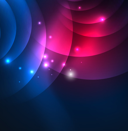 Glowing geometric shapes in dark space background. Stock Photo