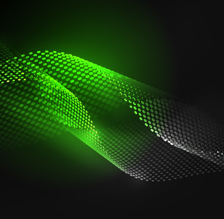 Glowing particles wave design template, vector technology light concept