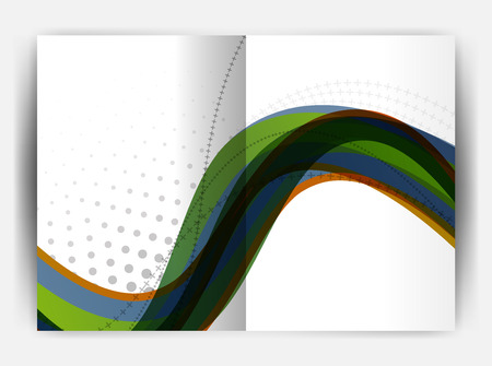 Business report cover template wave. Illustration