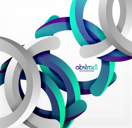 Modern 3d geometrical style background, arch circular lines. Vector template