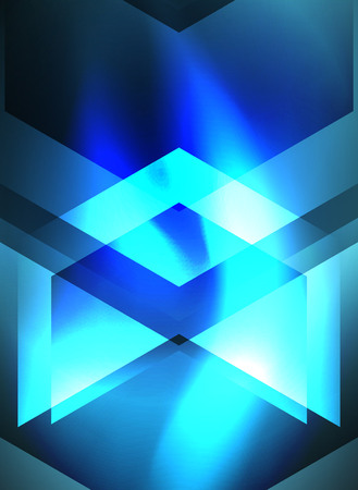 Digital technology glowing blue arrows, modern geometric abstract background with light effects and place for your message Illustration