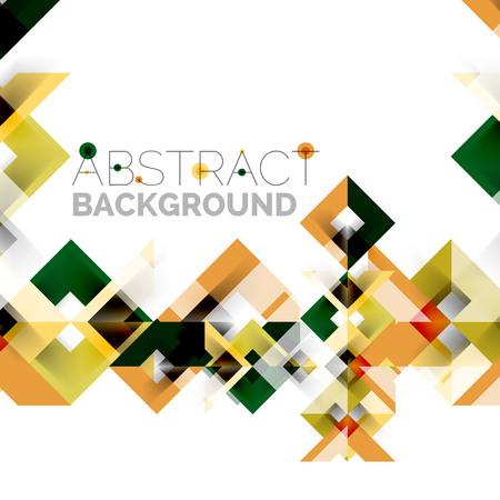 ホワイトのモダンな四角い幾何学模様デザイン  イラスト・ベクター素材