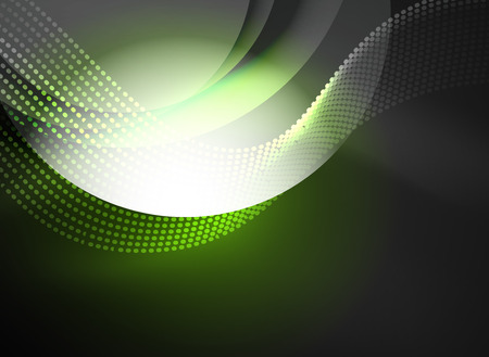 music: Glowing wave created with particles on dark color background Illustration