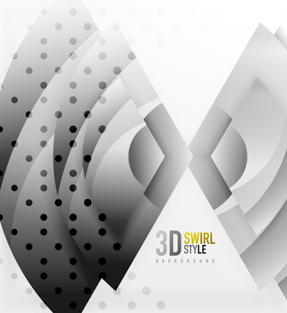 shiny black: Swirl and wave 3d effect objects, abstract template vector design. Overlapping waves on white background Illustration