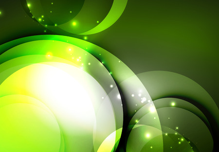 Vector digital illustration, glowing waves and circles Illustration