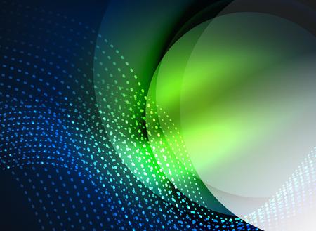 Glühende Welle mit Partikeln auf dunklen Farbhintergrund erstellt