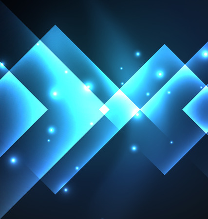shiny black: Dark background design with blue shiny glowing effects, lines and glass squares Illustration
