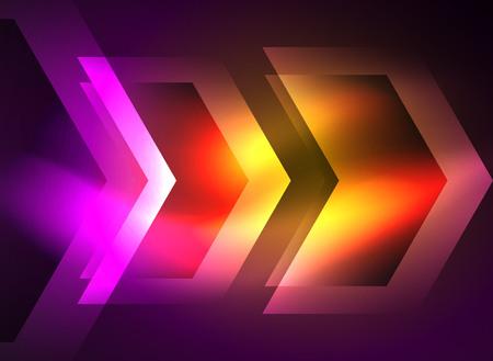 Technologie numérique flèches lumineuses, fond géométrique moderne avec effets de lumière et lieu pour votre message