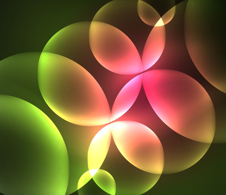 futuristic: Glowing shiny overlapping circles composition.