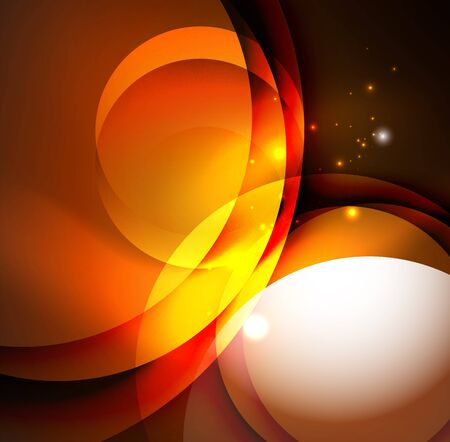 electronic music: Digital illustration, glowing waves and circles