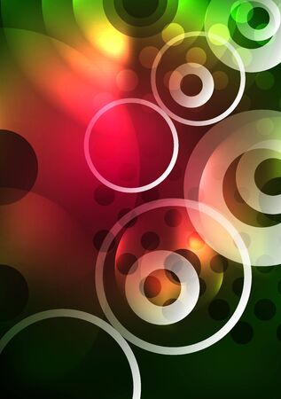 Glowing circles in the dark, futuristic vector abstract background design template Illustration