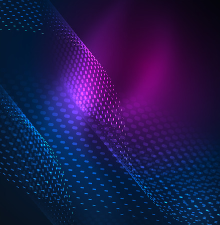 distortion: Glowing particles wave design template, vector technology light concept