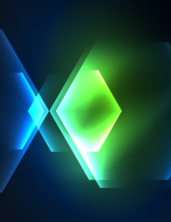grid background: Techno glowing glass hexagons vector background Illustration