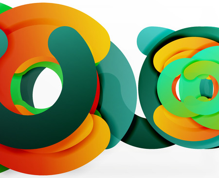 out of shape: Circle geometric abstract background, colorful business or technology design for web. Paper round shapes - rings, geometric 3d style texture, banner