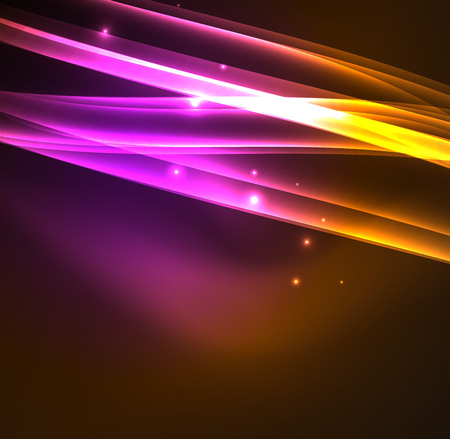 Energy lines, glowing waves in the dark, vector abstract background