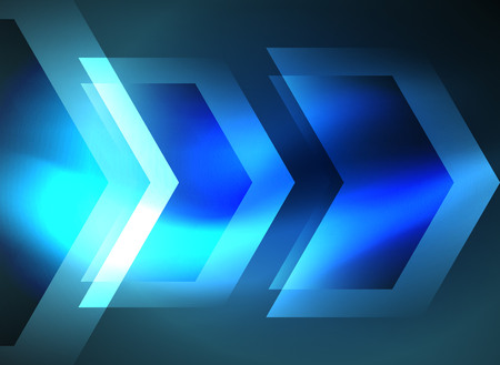 high speed internet: Digital technology glowing blue arrows, modern geometric abstract background with light effects and place for your message Illustration