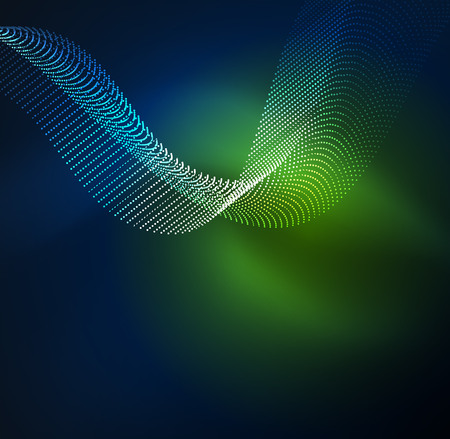 3D illuminated wave of glowing particles illustration.