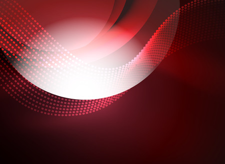 music 3d: Glowing wave created with particles on dark color background. Vector digital techno illustration