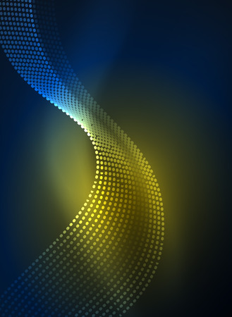 Glowing wave created with particles on dark color background. Vector digital techno illustration
