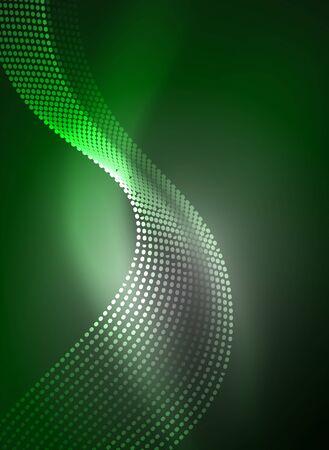 Gloeiende golf gecreëerd met deeltjes op donkere kleurachtergrond