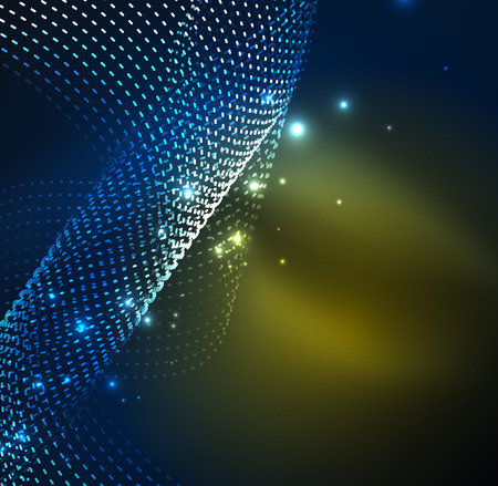 distortion: Vector wave particles background - 3D illuminated digital wave of glowing particles. Futuristic and technology vector illustration, HUD modern element