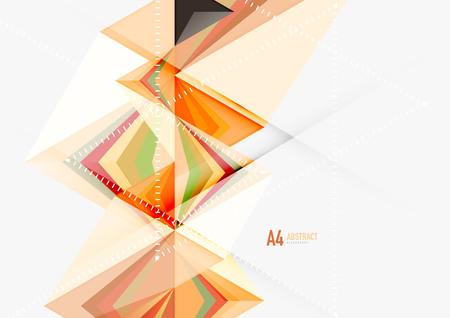 삼각형 낮은 폴 리 벡터 a4 크기 기하학적 추상 템플릿.