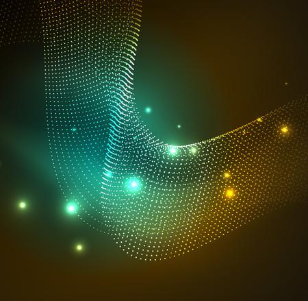 3D illuminated wave of glowing particles. HUD design element technology digital splash concept