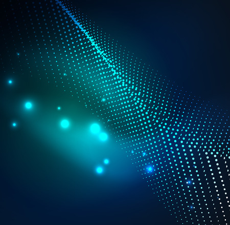distortion: 3D illuminated wave of glowing particles. HUD design element technology digital splash concept