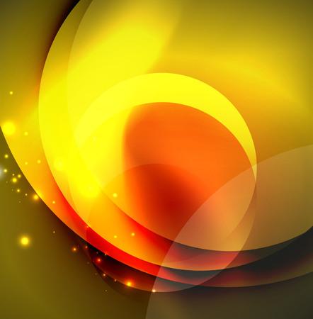 Vector digital illustration, glowing waves and circles Illustration
