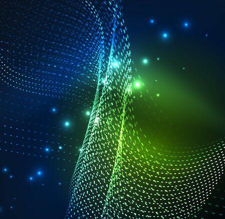 distortion: A Vector wave particles design illustration, background
