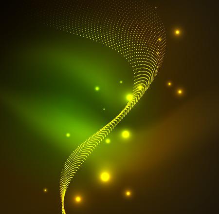 distortion: 3D illuminated wave of glowing particles. HUD design element. Technology digital splash concept. Illustration