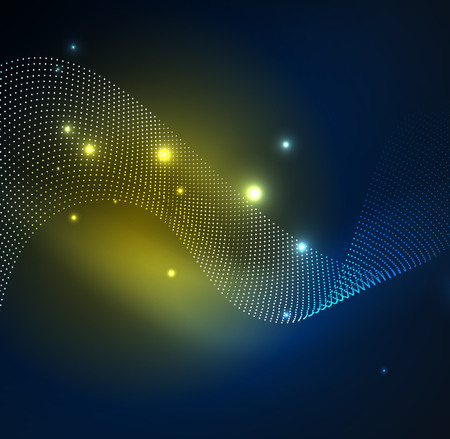 3D illuminated wave of glowing particles. HUD design element. Technology digital splash concept. Illustration