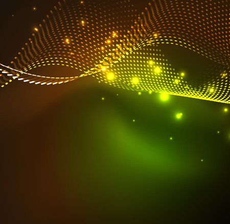 Vector wave particles background - 3D illuminated digital wave of glowing particles. Futuristic and technology vector illustration, HUD modern element.