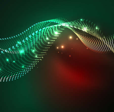 Vector wave particles background - 3D illuminated digital wave of glowing particles. Futuristic and technology vector illustration, HUD modern element