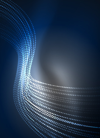 Glowing wave created with particles on dark color background Illustration