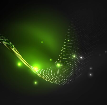 radioactive symbol: 3D illuminated wave of glowing particles