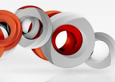 Modern 3d ring composition in grey and white space, vector abstract background Illustration