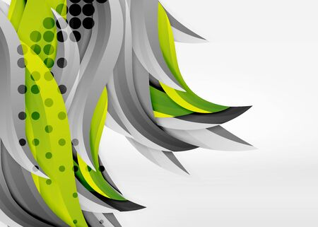 Vector colorful wave lines in white and grey 3d space