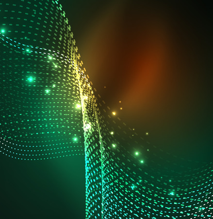 source of light: Vector wave particles background - 3D illuminated digital wave of glowing particles. Futuristic and technology vector illustration, HUD modern element